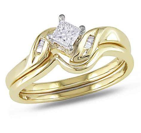 Graceful Cheap Diamond Wedding Set 0.25 Carat Princess Cut