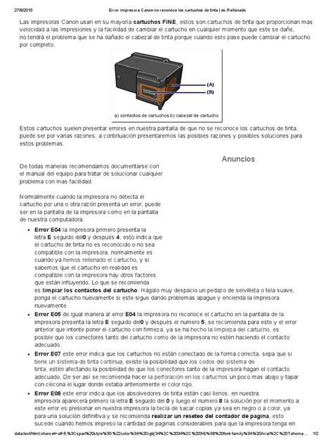 Error Impresora Canon No Reconoce Los Cartuchos de Tinta