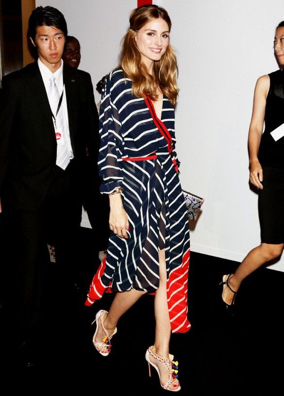 summer-work-outfits-olivia-palaermo-striped-dress-wrap-dress-red-white-and-blue-night-out-fringe-sandals-pom-poms-via-www