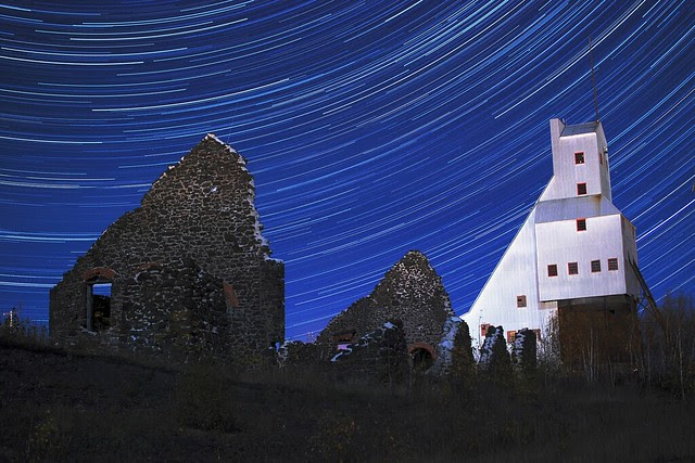 Star trails over mine ruins.