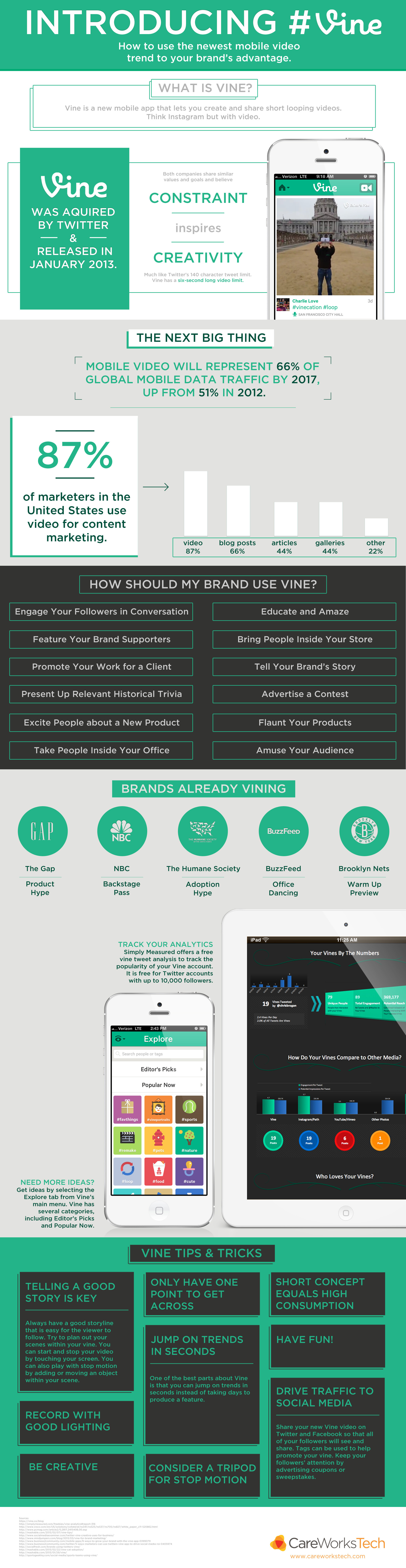 How to use the newest mobile video trend (vine) to your brand's advantages - infographic