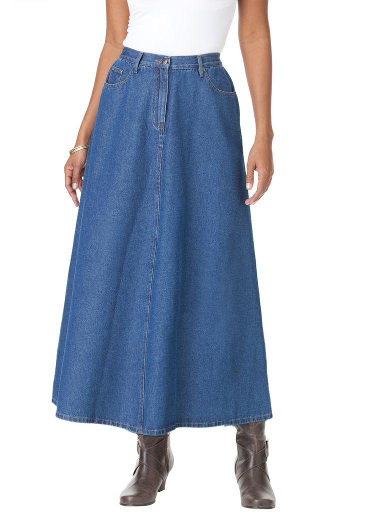 Perfect Denim A-line Skirt | Plus Size Skirts | Roamans