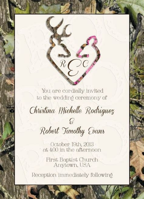 Camo Deer Hearts Wedding Invitation and RSVP Card by