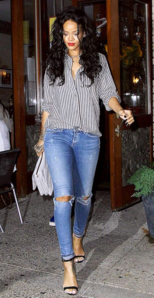 Le Fashion Blog 25 Ways To Wear A Striped Button Down Shirt Rihanna Ripped Skinny Jeans Via Who What Wear Red Lips