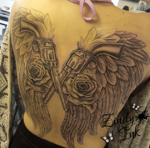 Wings Roses And Pistols By Zindyink Zindy Ink Tattoo Artist