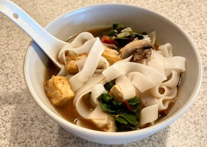 How to Make Homemade Mushroom and Swiss Chard Rice Noodle Soup