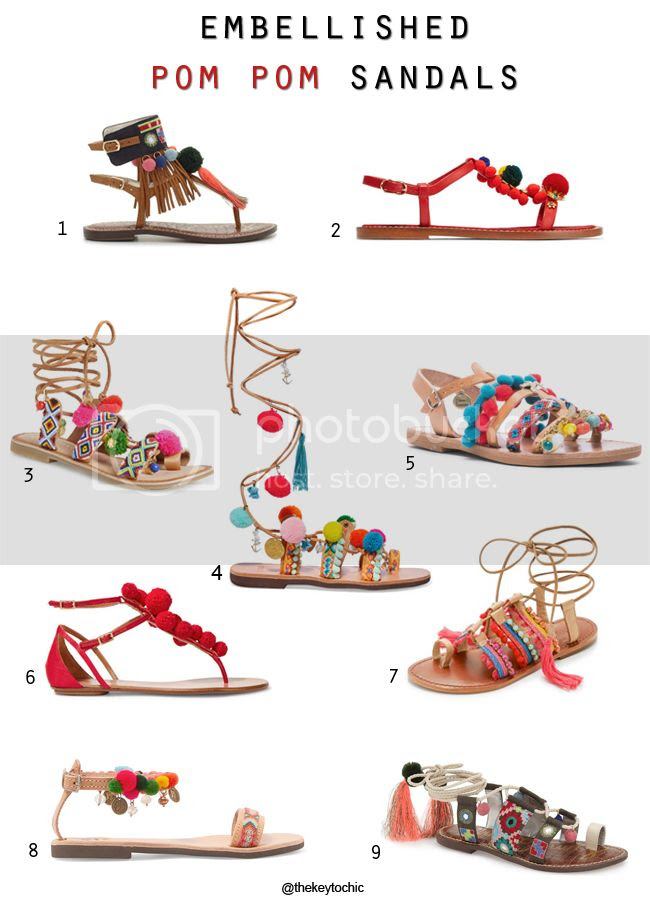 Embellished Pom Pom Sandals spring summer 2016 fashion trend
