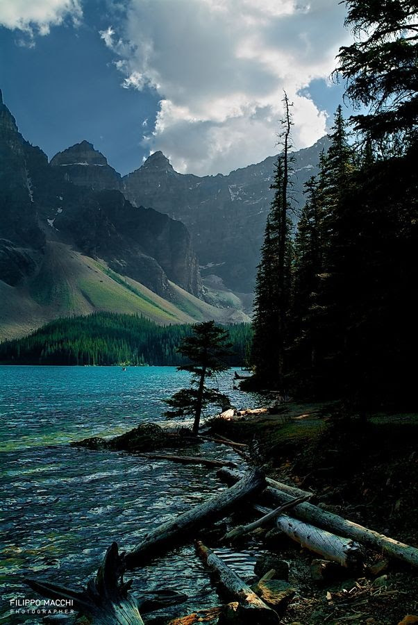 Moraine at sunset......Moraine Lake in the late afternoon in Banff National Park, Alberta Canada.  Truly one of the most beautiful places in Canada.