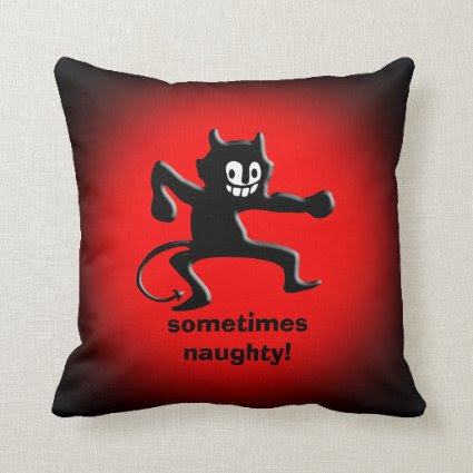 Black Horned Imp, Pointed Tail, sometimes naughty Pillows