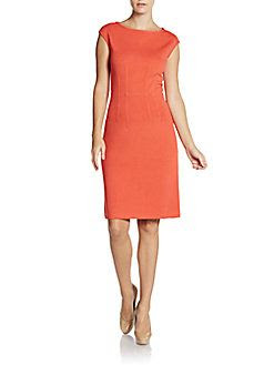 St. John Santana Knit Cap-Sleeve Dress
