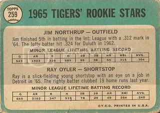 #259 Tigers Rookies: Jim Northrup and Ray Oyler (back)