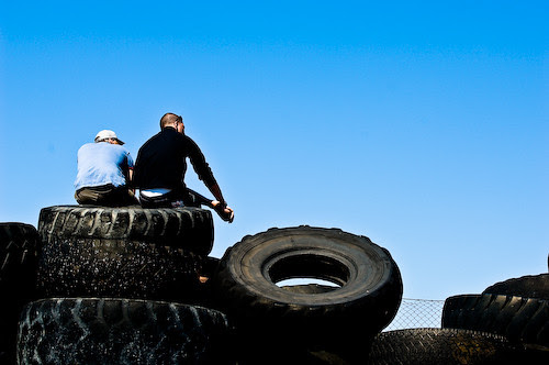Spectators on tractor tires