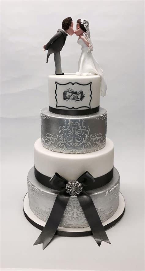 4 Tier Silver and White 'I Do' Wedding Cake   Wedding