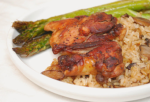 Balsamic Chicken Thighs with Mushroom Rice Pilaf