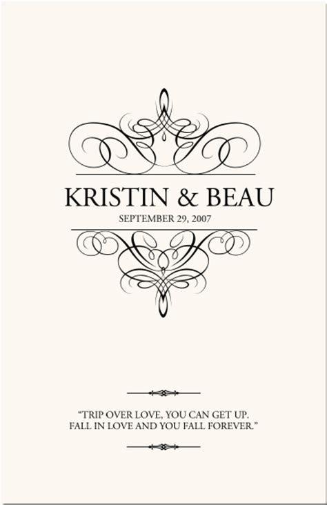 Flourish Monogram Wedding Programs Custom Monogram Designs