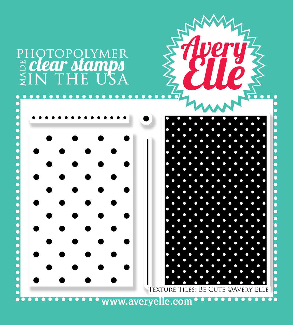 """Our 4"""" x 6"""" Texture Tiles: Be Cute clear stamp set (designed by Nina Yang) has so many possibilites .  Stamp the polka dot textures and patterns onto a tag, card, journal card to create your own custom background. """"Kiss"""" your solid image stamps with these stamps to create even more depth and interest on your projects."""