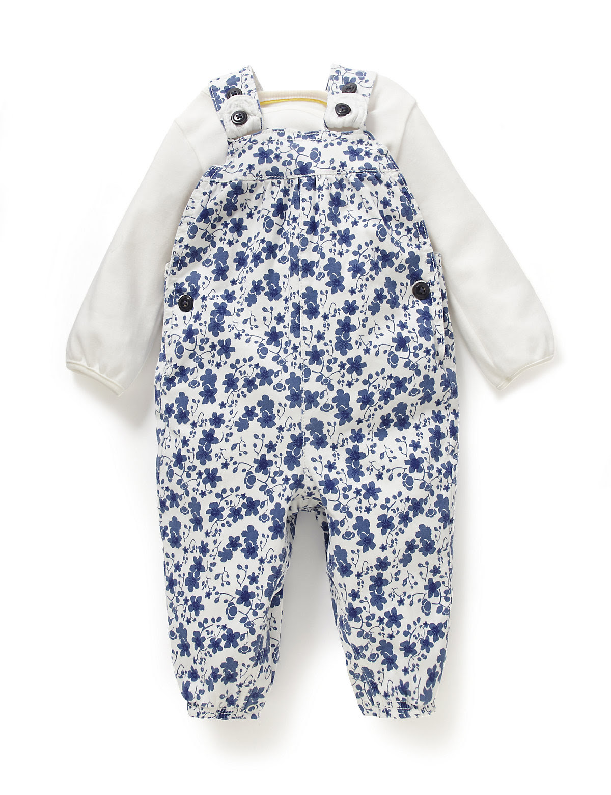 2 Piece Cotton Rich Floral Dungaree & Bodysuit Outfit