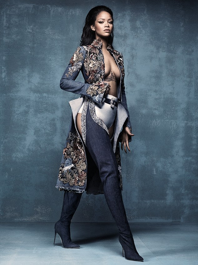 'These boots are dangerous!': Rihanna flashes cleavage and her derrière in a racy  shoot for British Vogue