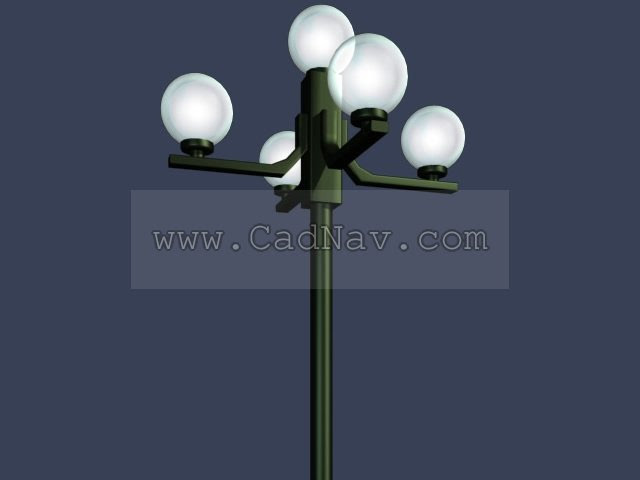 5 lamp Garden post light 3d model 3Ds Max files free download  modeling 308 on CadNav