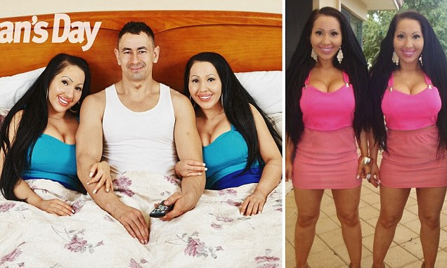 The boyfriend of Anna and Lucy DeCinque - the identical twins who spent $240,000 on surgeries to look more alike - has spoken out about their unorthodox relationship