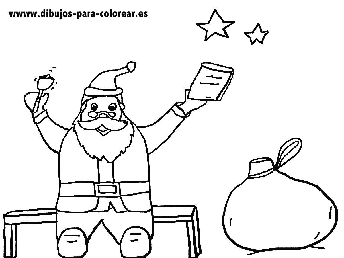 Papa Noel Y El Saco De Juguetes Dibujos Para Colorear