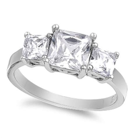2.50 Carat Princess Cut Square Russian Ice Diamond CZ 925