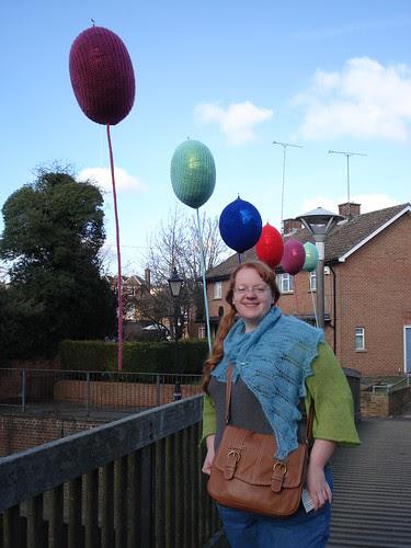 Unravel Farnham Maltings Surrey decorated yarnbombing balloons