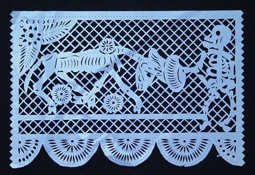 Skeleton Matador - day of the dead paper cutout