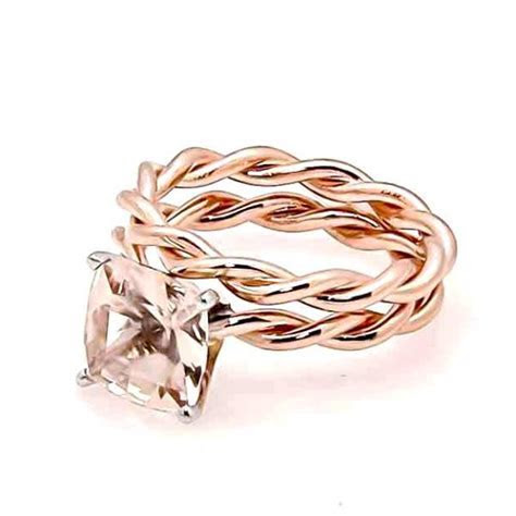 Unique Hand Twisted Cable Rope Morganite Engagement Ring