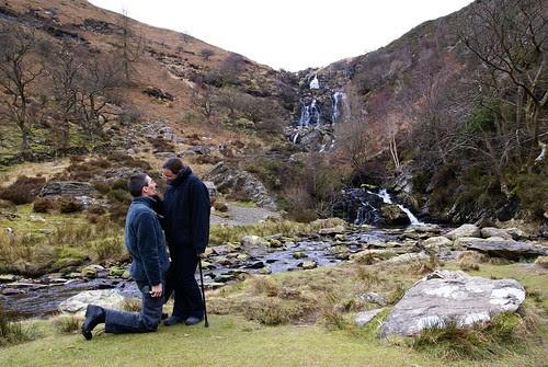 same scenery, but Steve kneeling