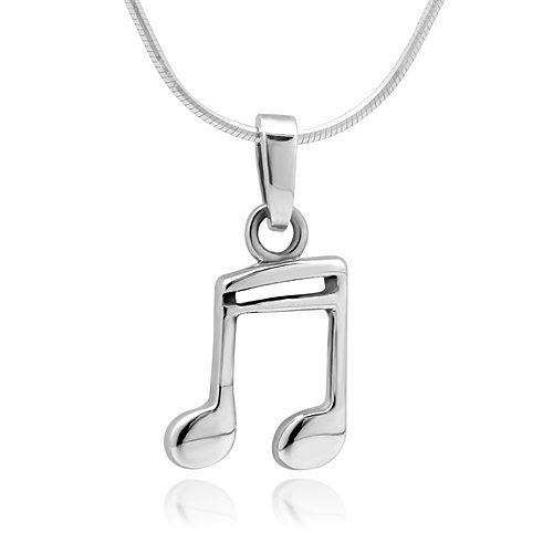 HAPPY NOTES!! 925 Sterling Silver Quavers Music Note Pendant Necklace 18'' Jewelry for Women, Teens - Nickel Free: Chuvora: Jewelry