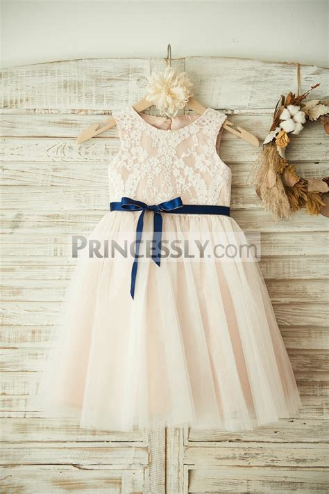 Ivory Lace Tulle Pink Lining Flower Girl Dress with Navy