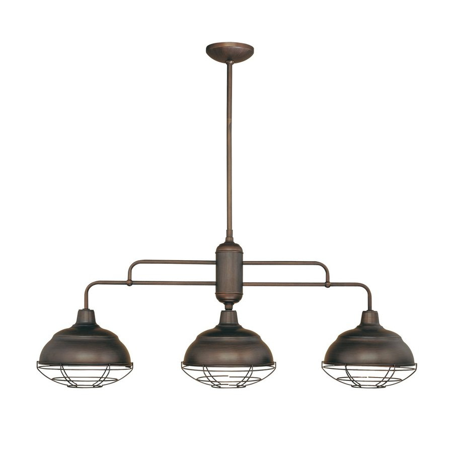 Shop Millennium Lighting NeoIndustrial 41in W 3Light Rubbed Bronze Kitchen Island Light with