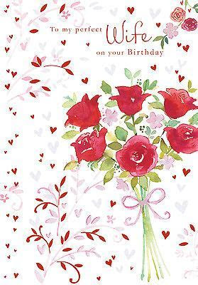 WIFE HAPPY BIRTHDAY CARD ROSE BOUQUET DESIGN SIZE 9.00 x 4