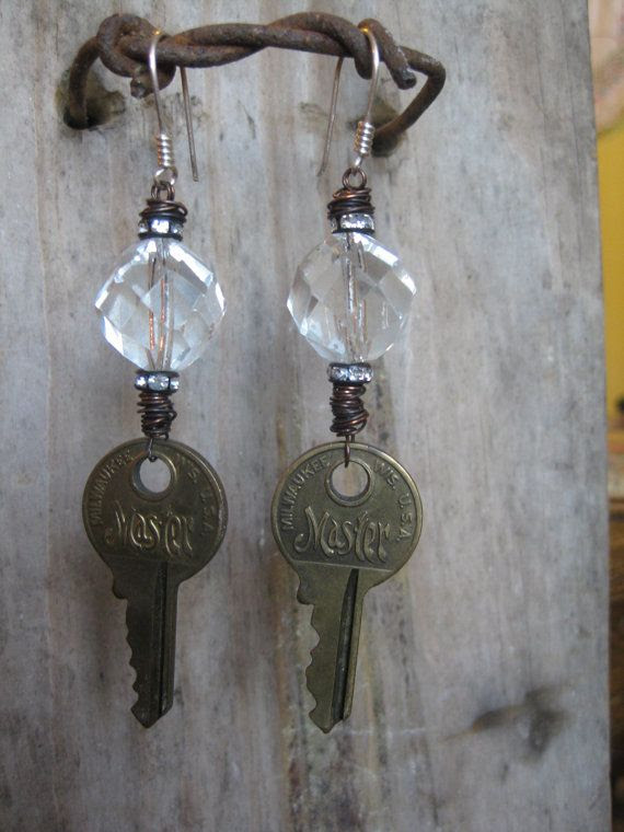 Vintage Key and Crystal and Brass Earrings. $40.00, via Etsy.