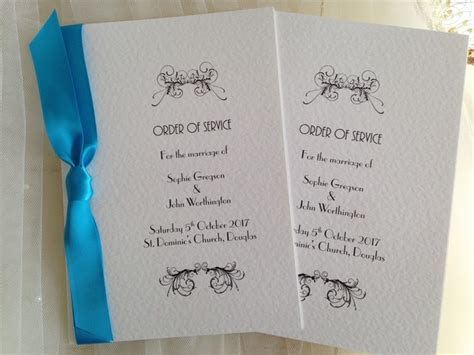 Wedding Order of Service Printing from £1.25 each, Quick