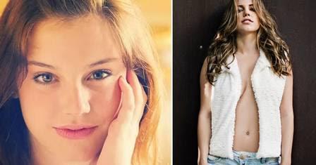 """Alice Wegmann como a pequena Lia, em """"Malhação"""", em 2011, e aos 20 anos em clique sexy."""