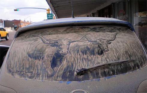 art dust 14 Arte na Poeira das Janelas dos Carros
