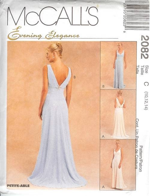 Evening gown dress sewing patterns
