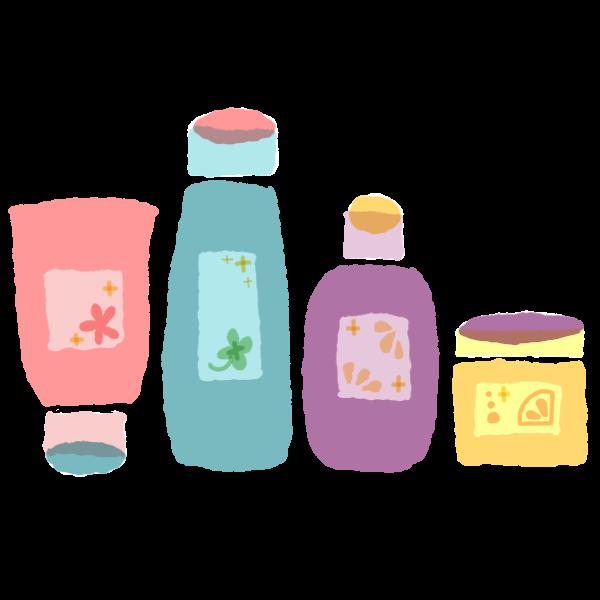 洗顔料と化粧水と乳液とクリームのイラスト かわいいフリー素材が無料