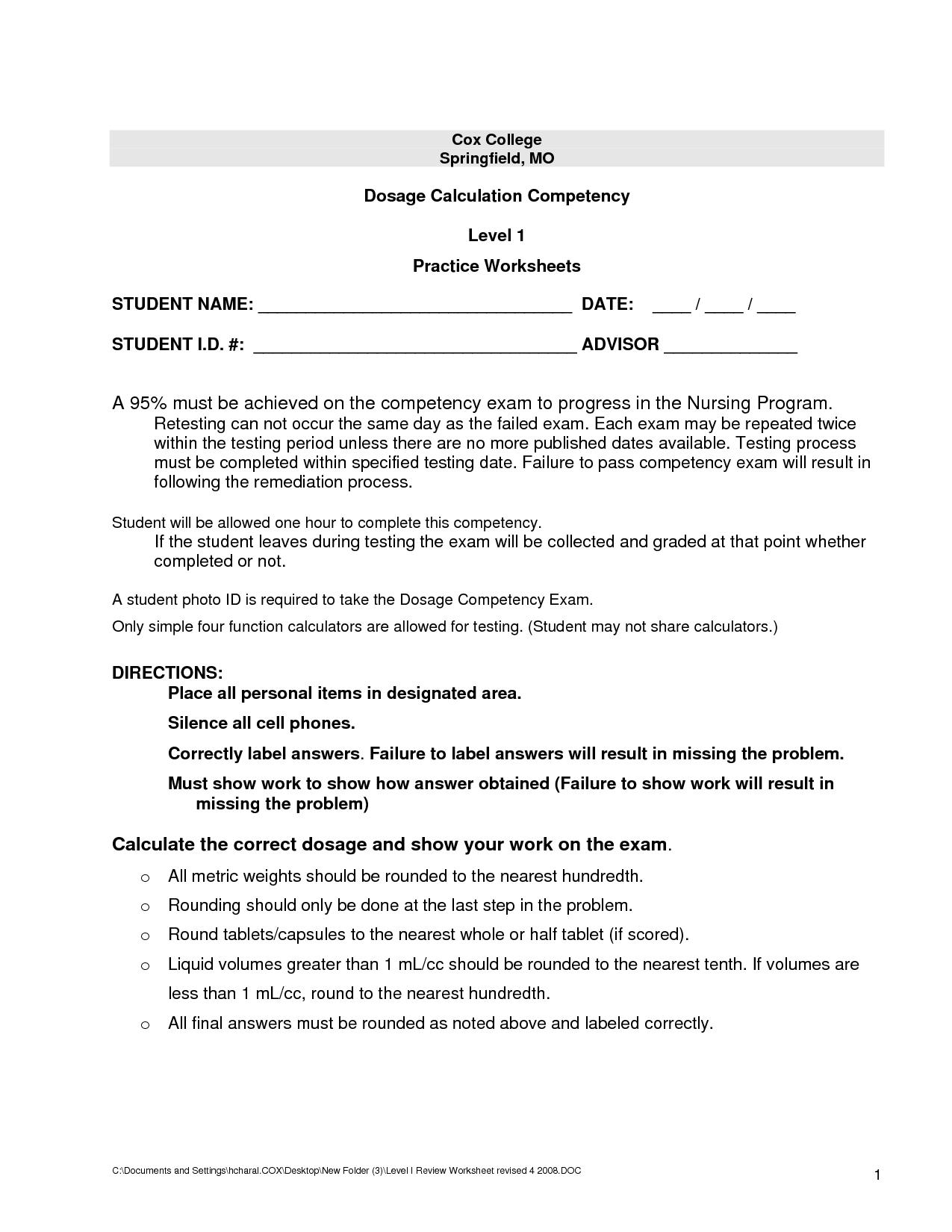 14 Best Images of Worksheets For Nursing Class  Dosage Calculation Practice Worksheets, Human