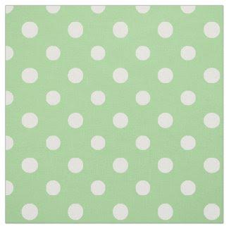 Spring Sunshine White on Green Polka Dots Fabric
