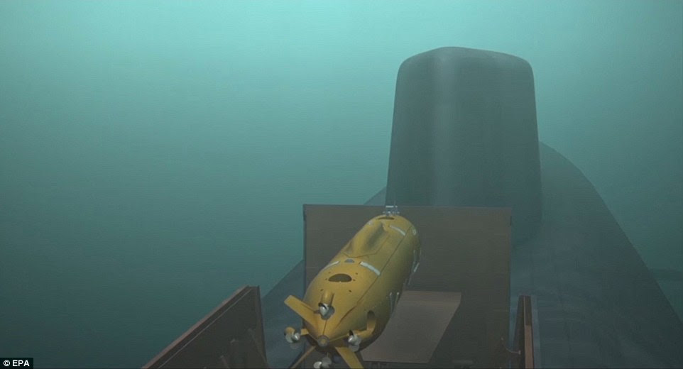 Un extrait vidéo extrait d'un document vidéo fourni par le site officiel du président russe kremlin.ru montre un sous-marin lançant un submersible sans pilote doté d'un moteur nucléaire innovant lors des présentations lors du discours du président russe Vladimir Poutine à l'Assemblée fédérale