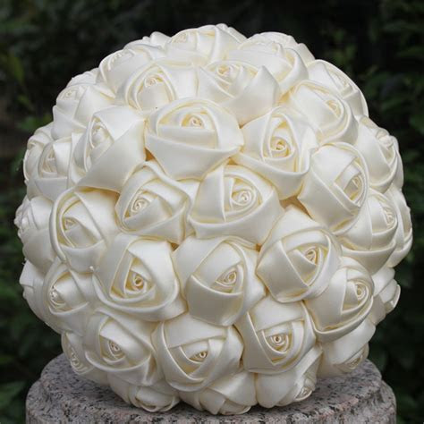 Free Shipping Cheap Marfim Ivory Silk Bridal Bouquet