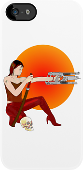 alternative, ianbyfordart, cool, funny, graphic, science fiction, sci fi, skull, bones, skeleton, bone, skulls, hero, girl, gun, weapon, weapons, yin, yang, tattoo, guns, samurai, sword, katana, japanese, japan, woman, girl with gun