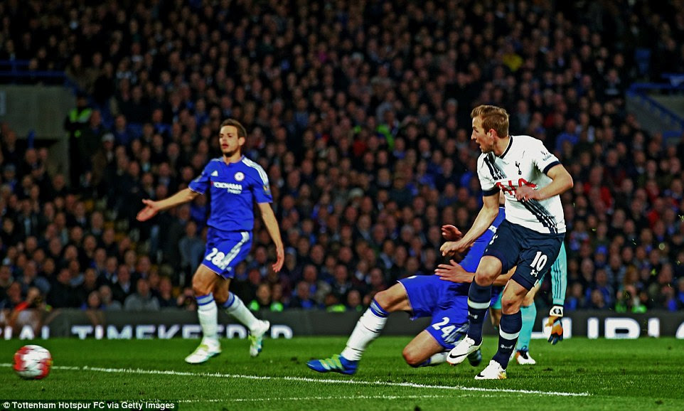 The Tottenham star collected Erik Lamela's pass before stepping around Blues keeper Asmir Begovic to put the visitors 1-0 ahead
