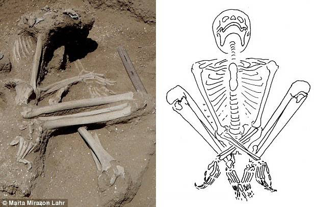 El esqueleto de la mujer que fue encontrada con los restos de un feto de más de seis meses en su interior.
