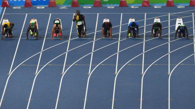 Final dos 100 metros rasos na Olimpíada do Rio