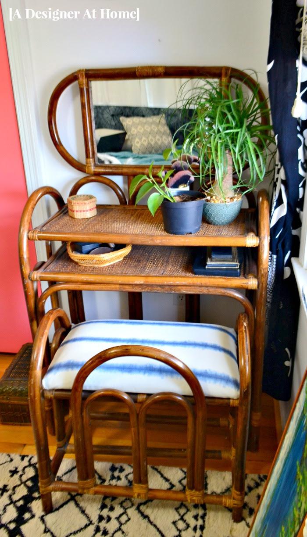 boho-bohemian-bedroom-style-rattan-vanity-furniture-shibori-dyed-indigo-fabric-textile-makeover-makeup