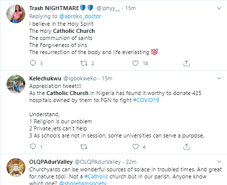 Nigerians heap praises on the Catholic church for donating all its 425 hospitals to FG as isolation centers